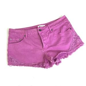 Roxy denim jean shorts lace trim fray hem cut off